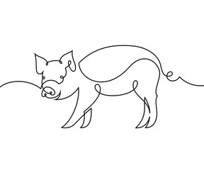 Linear pig. Continuous line drawing
