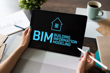 Wall Mural - BIM - Building information modeling concept on screen.