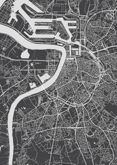 City map Antwerp, monochrome detailed plan, vector illustration