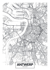 City map Antwerp, travel vector poster design