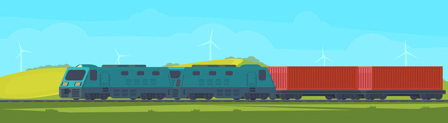 Poster Turkoois Freight train with container on railway car. Transportation by railroad. Nature landscape in a hilly area. Vector flat illustration.