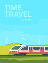 Photo sur Plexiglas Turquoise Passanger modern electric high-speed train with nature landscape in a hilly area. Railway transport. Travel by train. Vector flat illustation.
