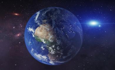 Erde mit Milchstrasse im Universum - Supernova / Sonnensystem mit Planet  Weltall