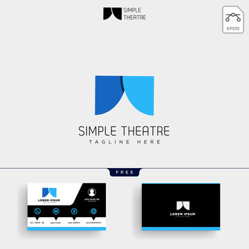 theater simple logo template and business card