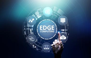 Obraz Edge computing modern IT technology on virtual screen concept - fototapety do salonu
