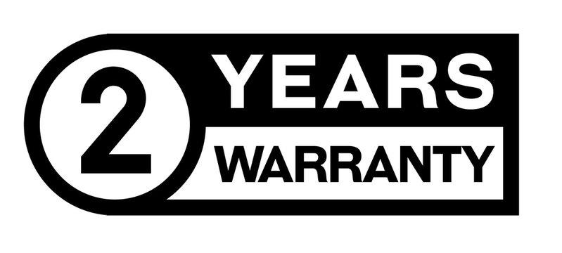 2 year warranty stamp on white