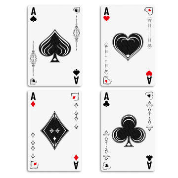 Set four aces for playing poker and casino. Ace of spades, diamonds, hearts and clubs. Four aces playing deck of cards.