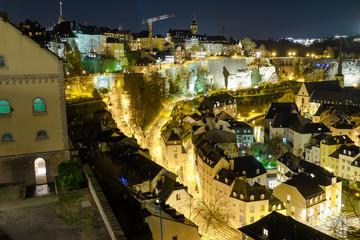 Luxembourg city panorama at night