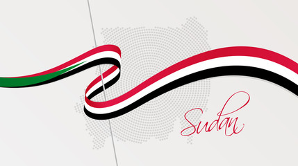 Wavy national flag and radial dotted halftone map of Sudan