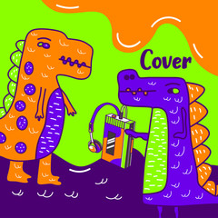 cute dinosaur drawn as vector for kids fashion – Vector