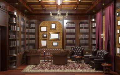 cigar room, smoking lounge, interior visualization, 3D illustration