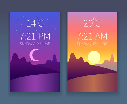 Day night app. Morning and evening sky. Nature landscape with trees. Vector weather flat background for phone interface