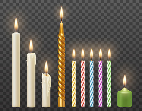 Vector set of 3d realistic burning white candles, birthday party cake colorful twisted candles. Isolated on transparent background