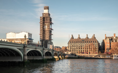 Westminster landmarks with Big Ben under scaffolding