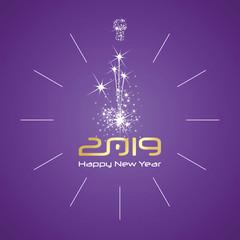 Happy New Year 2019 midnight light firework elegant clock gold numbers purple background