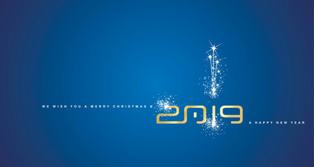 Merry Christmas and Happy New Year 2019 gold sparkle cyberspace abstract blue background