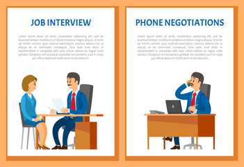 Job Interview and Phone Negotiations Vector