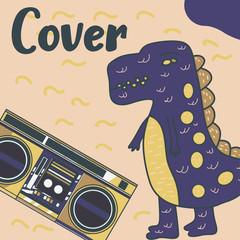 Hand drawn cute card with Dinosaur