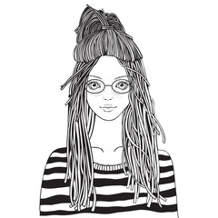 Yong girl with glasses in a striped sweater. Coloring book page for adult. Doodle style. Black and white.