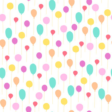 Vector seamless pattern for children birthday party. Flat hand drawn style. Green, yellow and pink balloons isolated on white background. Good for cards, packaging gifts paper, banner etc.