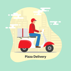 Pizza delivery concept. Delivery scooter motorcycle with pizza boxes on city background.