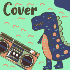 Cute kids Monster cover and packaging design set vector illustration - Vector