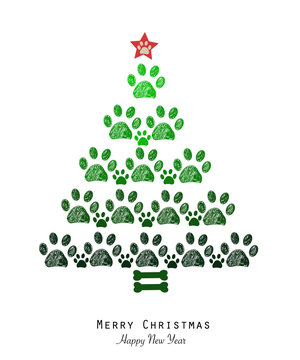 Christmas tree made of paw prints and bone. Happy new year greeting card