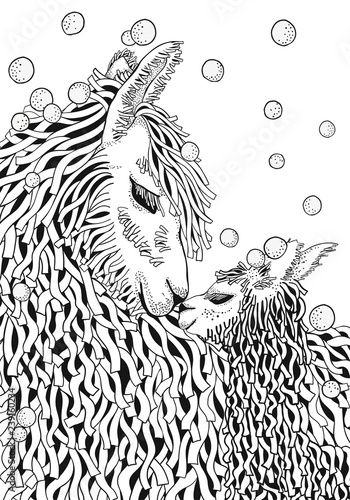 Llama. Mather and baby. Coloring Book page for Adult and children in ...