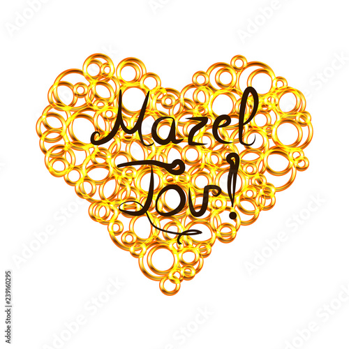 Golden heart from circles with lettering inscription Mazel