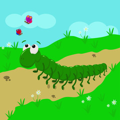 caterpillar in the meadow - vector  illustration, eps