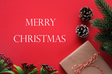 Merry Christmas and ornaments on red background, Christmas greeting card banner