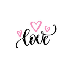 Romantic love text, pink hearts Vector Calligraphic hand lettering. Valentines day wedding greeting card design template