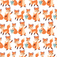 Fox character doing different activities funny happy nature red foxy cute adorable tail and wildlife orange forest animal seamless pattern background vector illustration.