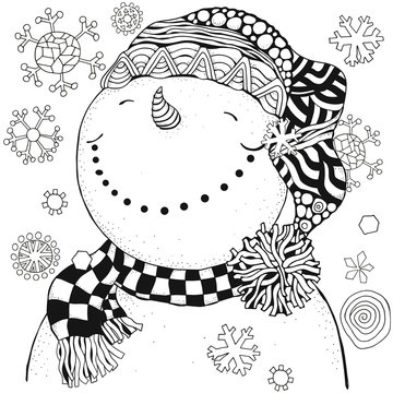 Cheerful snowman and snowflakes. Winter, snow, sled, carrot, buttons. Merry Christmas, Happy New Year. adult coloring book. Black and white.
