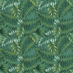 Green tropical summer jungle seamless pattern leaves background