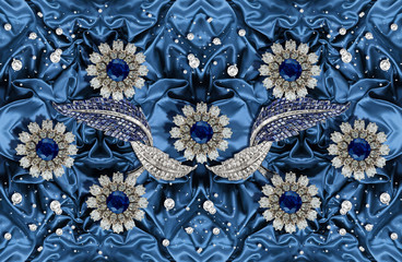3D wallpaper  Jewelry flowers on blue silk. Flower theme - this is a trend in interior design. Celebration 3d background.
