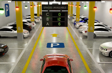 Smart Parking lot Guidance System with Overhead Indicators, Intelligent assist, Realistic illustration 3D Rendering