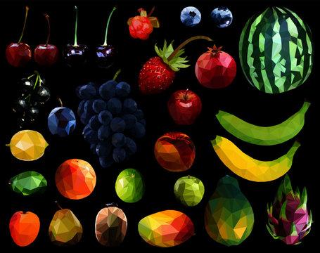 Low poly fruits set: apples, cherry, blueberries, cloudberry, black currant, plum, strawberry, apricot, mango, kiwi, banana, avocado, papaya, peach, lemon, lime, grapes, orange isolated on white.