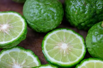 juicy sliced citrus bergamot fruit for hair herbal concept