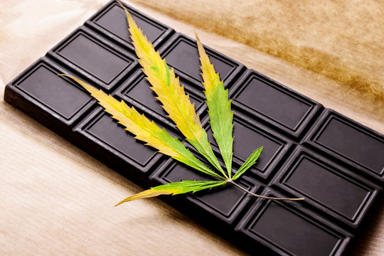 Marijuana leaf with an edible dark chocolate bar on the wrapping paper. Cannabis with ganja top view on white background