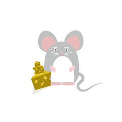 Rat and cheese cartoon character isolated on white abstract background vector illustration