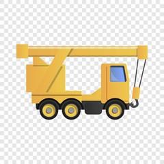Truck crane icon. Cartoon of truck crane vector icon for web design