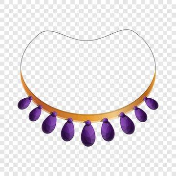 Purple necklace icon. Cartoon of purple necklace vector icon for web design