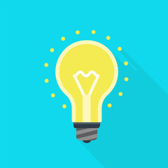 Light bulb icon. Flat illustration of light bulb vector icon for web design