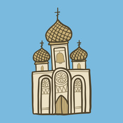 Christian church icon. Hand drawn illustration of christian church vector icon for web design