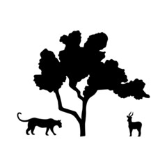 Composition of vector black silhouettes isolated on a white background. Predator and prey under the tree. Tiger and antelope. Wildcat