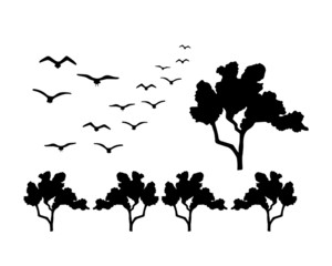 Black silhouettes isolated on white background. Trees and birds. Elements for decoration.  Vector