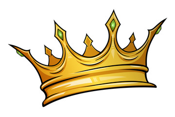 Golden crown mascot with colorful gem stones. Vector illustration isolated on white background. Good for logos, icons, posters, stickers.