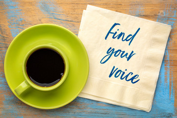 Find your voice text on napkin