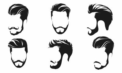 Hipster Hair, Mustaches and Beards. Hipster Style Vector Illustration. - Vector